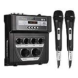 ZLDGYG SMDMM Bluetooth O DJ Mixer Mezclador de hogar Micrófono al Aire Libre Micrífono Mezclador pequeño con 2 micrófono