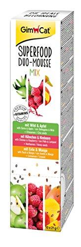 GimCat Superfood Duo-Mousse - Premium Katzensnack aus fleischiger Mousse und Obst mit Vitaminen - 1 Packung (10 x 21 g)