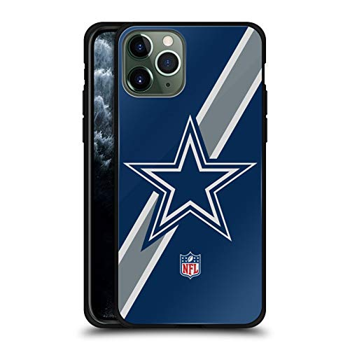 Head Case Designs Officially Licensed NFL Stripes Dallas Cowboys Logo Black Hybrid Glass Back Case Compatible with Apple iPhone 11 Pro