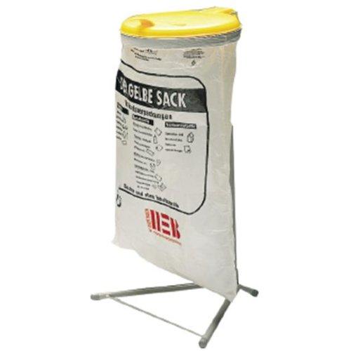 VAR Abfallsammler Standard, pulverbeschichtet kieselgrau, Deckel gelb aus Kunststoff, BxTxH 500x530x920 mm