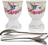 NobleEgg Egg Cups for Soft Boiled Eggs | 2 Porcelain Egg Holders, 2 Stainless Steel Egg Spoons | Essential Egg Cups and Spoons Set for 2