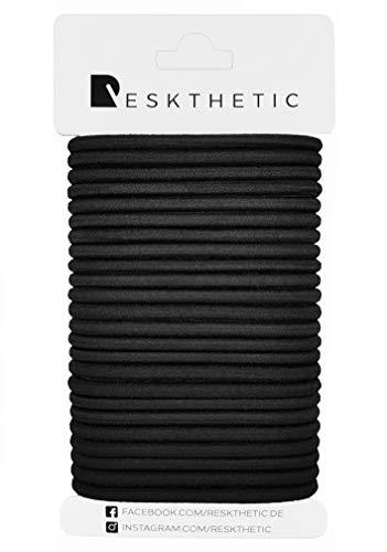 Reskthetic - Haargummis, 24 Stück (4mm, schwarz) aus hochwertigem (sehr reißfest), umweltfreundlichem und geruchsneutralem Material ohne Metall für Frauen, Mädchen, Männer