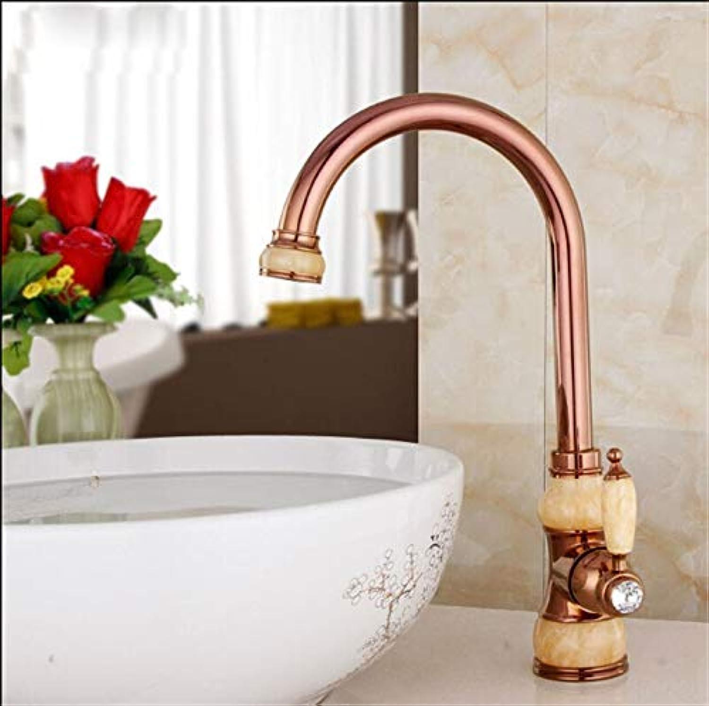 CZOOR Messing Torneira Cozinha mit Marmor Küchenarmatur Einhebel Gold-Finish Waschbecken Mischbatterien Spüle Wasserhahn, RoséGold