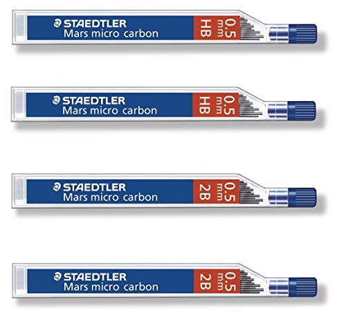 Staedtler Mars Micro Carbon pencils 0.5mm lead refill 2B & HB, Total 48 leads