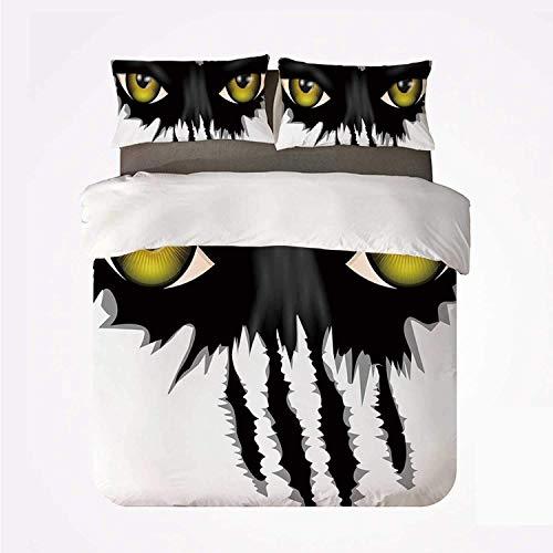 Ojo Ojos malvados de gato negro salvaje Cara fija Hombre lobo Animal Monstruo Peligro de arañazos Decorativo ,Juego de ropa de cama con funda nórdica de microfibra y 2 funda de almohada - 140 x 200 cm