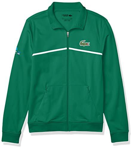 Lacoste Men's Sport Miami Open Full-Zip Graphic Sweatshirt, Fluorine Green/White, 3XL