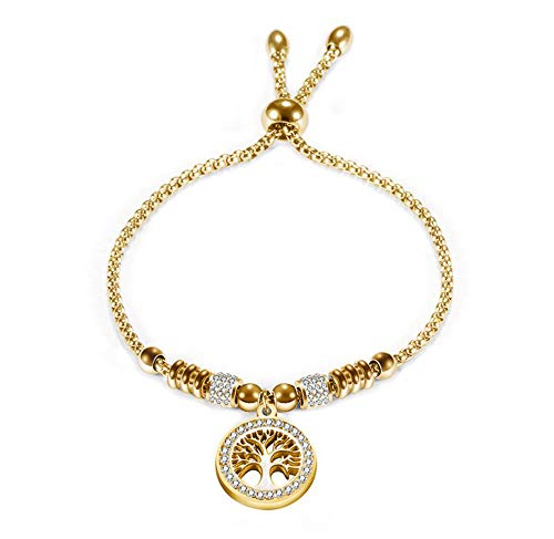 MiniJewelry Tree of Life Bling Crystal Charms Adjustable Gold Stainless Steel Bracelet for Women Girl, 7 Inch