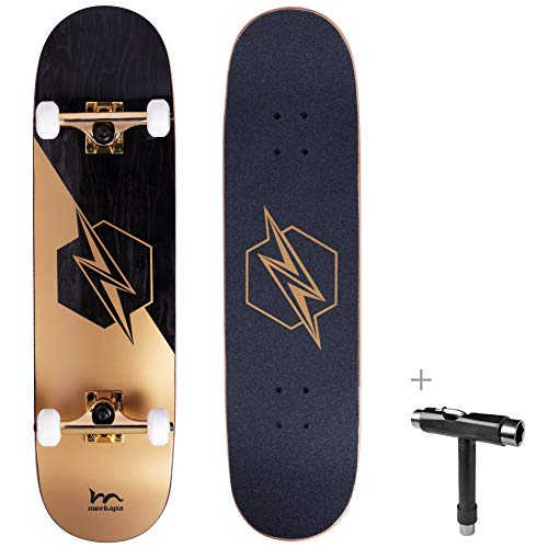 M Merkapa 31' Pro Complete Skateboard 7 Layer Canadian Maple Double Kick Deck Concave Skateboards with Tool (Lightning)