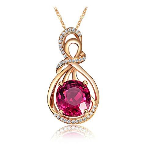 AmDxD 18K Yellow Gold Necklace, 3.52CT Infinity Tourmaline with Diamond...
