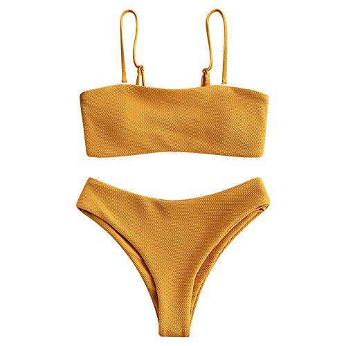 ZAFUL Bikini Textured Removable Straps Padded Bandeau Two Piece Bathing Suits for Women Bee Yellow S