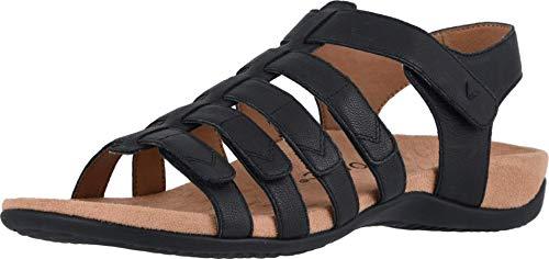 Vionic Women's Rest Harissa Backstrap Fisherman Walking Sandals - Adjustable Gladiator Sandal with Concealed Orthotic Arch Support Black 6.5 Medium US