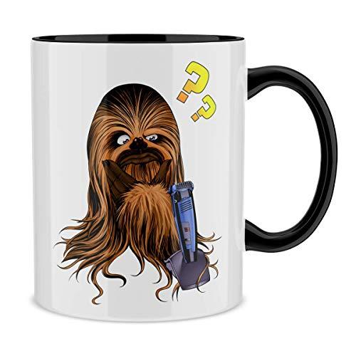 OKIWOKI Star Wars Lustiges Tasse mit farbigem Henkel und Innenleben (Schwarz) - Chewbacca (Star Wars Parodie signiert Hochwertiges Tasse - Ref : 626)