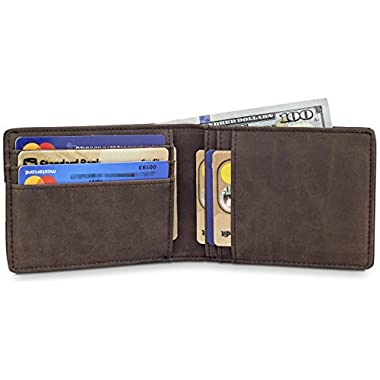 TRAVANDO Slim Wallets BUFFALO - RFID Blocking Wallet - 8 Card Pockets - Mini Credit Card Holder - Travel Wallet - Minimalist Bifold Wallet for Men with Gift Box
