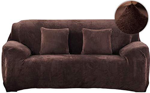 Pengmai - Funda de sofá extensible, 1 pieza de terciopelo, revestimiento de sofá elástico, 1/2/3/4 plazas, cubre sofá protector de muebles