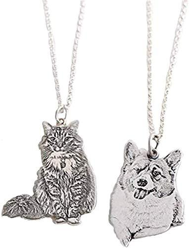 SHAREMORE Collar de gato grabado para mujer, llavero personalizado con imagen de perro con nombre, joyería regalos personalizados para mascotas