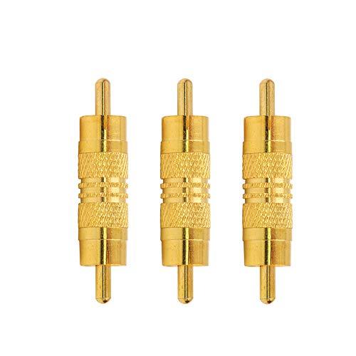 VCE 3 Pezzi Adattatore RCA Audio Maschio Maschio Oro Accoppiatore Connettore RCA Maschio per Cavo RCA