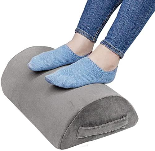 Ergonomic Foot Rest Cushion Under Desk with High Rebound Ergonomic Foam Non-Slip Half-Cylinder Footstool Footrest Ottoman for Home Office Desk Airplane Travel (Grey)