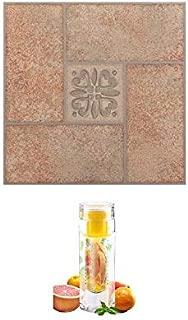 12x12 Nexus Self Adhesive Vinyl Floor Tile with Bottle (Beige Terracotta Motif Center)
