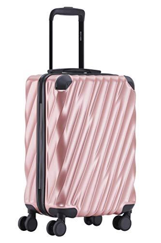 MÜNICASE TSA Schloß Handgepäck Trolley Koffer-Set Reisekoffer (Rosagold, M-55cm)