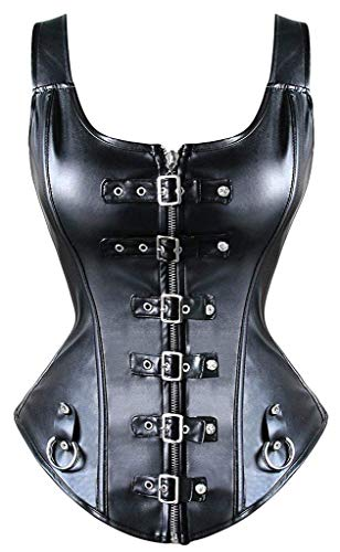 YIANNA Steampunk Punk Rock Faux Leather Buckle-up Corset Bustier Basque Top,YA1412-Black-M