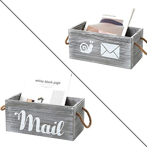 Rustic Wood Mail Organizer with Handle Decorative Wooden Mail Holder for Wall Mail Organizer Countertop Storage Box Office Desk Organizer Rustic Letter Sorter Tray