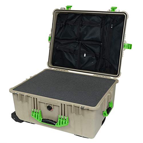 Pelican 1620 Desert Tan & Lime Green Case - with Pluck Foam & Mesh Lid Organizer