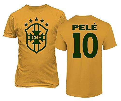 BTA Apparel Neu Neuheit Fußballlegenden #10 Pele Trikotstil Herren T-Shirt (Gold, XL)