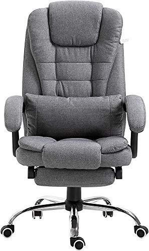 XCG Habitación Executive con reposapiés, Apoyo para la Cabeza y la Almohadilla de Soporte Lumbar Muebles Ordenador sillas reclinables,Grey