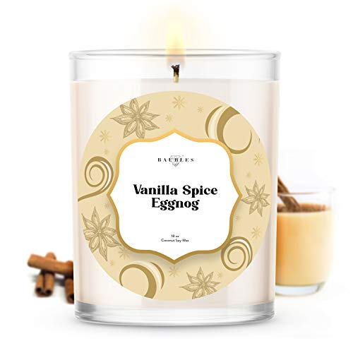 Kate Bissett Christmas Winter Candles | Vanilla Spice Eggnog | Made with 100% Natural Soy and Coconut Wax | Hand Poured 18 oz Candles | Home Decor Gifts