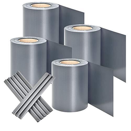 Juskys PVC Sichtschutzstreifen Doppelstabmatten Zaun 4er Set | 4 Rollen á 35m x 19cm | 120 Befestigungsclips | Zaunfolie Sichtschutz Windschutz - hellgrau