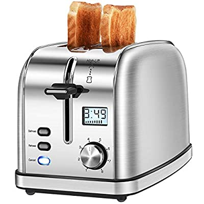 Toaster 2 Slice IKICH Polished Stainless Steel Silver 2-Slice Toaster[LCD Display](8 Shade Settings, Defrost/Reheat/Cancel 2slice toaster, Variable Wide Slot/Featuring High-Lift/Removable Tray, 950W)