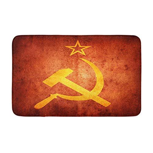 AoLismini Badematte Gelbe Flagge Sowjetischer kommunistischer russischer Soldat Stalin im Alter von Armen Gemütliches Badezimmerdekor Badteppich mit Rutschfester Unterlage