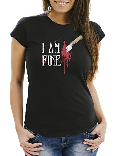 MoonWorks Damen T-Shirt Halloween Wunde Messer I Am Fine Horror Fun-Shirt Stichwunde schwarz XS