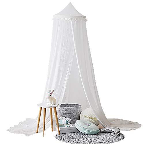 Topelec Betthimmel für Kinder, rund, Baumwolle, Moskitonetz, Prinzessinnen-Spielzelte, Raumdekoration zum Spielen und Lesen weiß