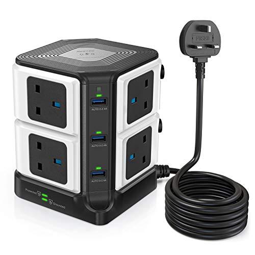 BESTEK 3M 1500J Überspannungsschutz, Verlängerungskabel, 3250 W, 8-Wege-Buchsenstecker mit 6 Anschlüssen (5 V/8 A) USB-Steckdosenleiste (schwarz)