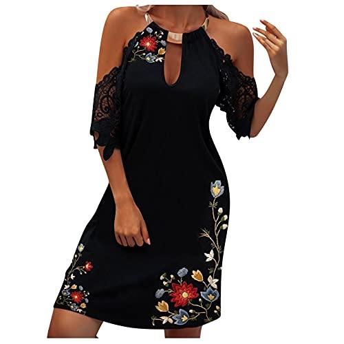 Neckholder Kleid Damen Kurz Damen Knielang Hoch Taille Maxikleider Ärmellos Sexy Ärmellos Aushöhlen Kleid Sommerkleid, Verlaufsdruck...