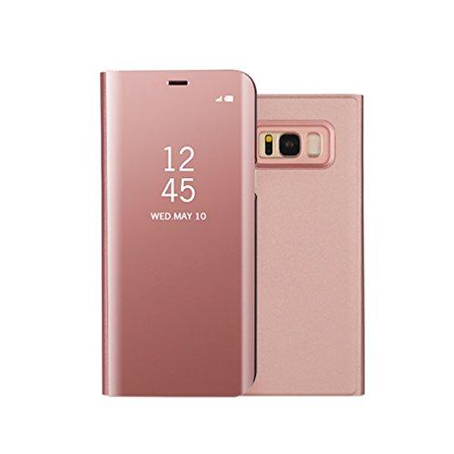 Aursen Custodia Samsung S8 Cover a Specchio Samsung Galaxy S8 Ideale per porteggere Telefono - Oro Rosa