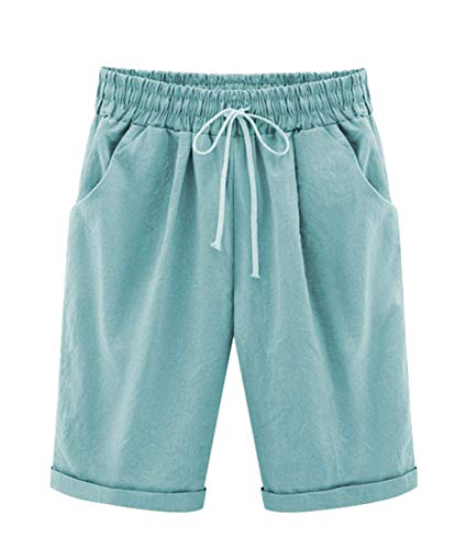 Vcansion Women's Casual Elastic Waist Knee Length Bermuda Shorts with Drawstring Turquoise Asian 6XL/US 16-18