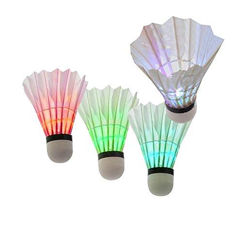 Hysagtek 4 Stücke Bunte LED Badminton Dunkle Nacht Beleuchtung Federball Ausbildung Badminton Birdies Bälle Sport Zubehör (mischfarbe)