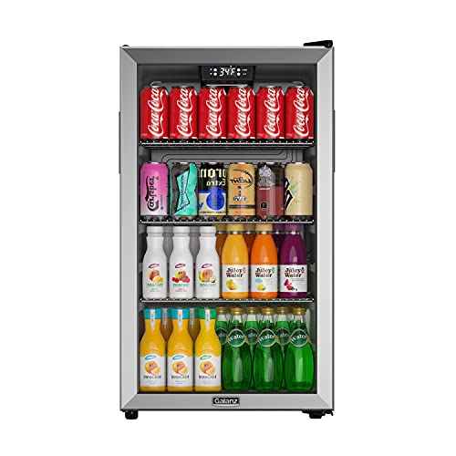 Galanz Beverage Refrigerator and Cooler - 130 Can Mini Fridge with Glass Door for Soda, Beer, or Wine - Small Drink Refrigerator for Office or Bar, Adjustable Removable Shelves, 32-61 degrees F