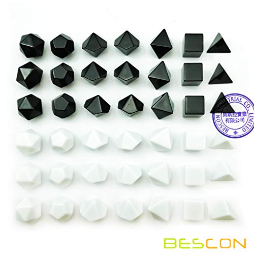 Preisvergleich Produktbild Bescon Blank Polyhedral RPG Dice Set 42pcs Artist Set,  Solid Black and White Colors in Complete Set of 7,  3 Sets for Each Color,  DIY Dice
