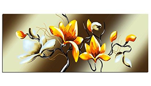Dsign24 EG312500123 - Stampa su vetro HD, metallic flower, colore: arancione, XXL, 125 x 50 cm