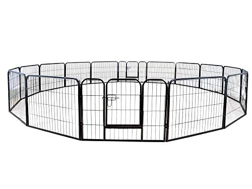 "PetDanze Dog Pen Metal Fence Gate Portable Outdoor | Heavy Duty Outside Pet Large Playpen Exercise RV Play Yard | Indoor Puppy Kennel Cage Crate Enclosures | 32"" Height 16 Panel"
