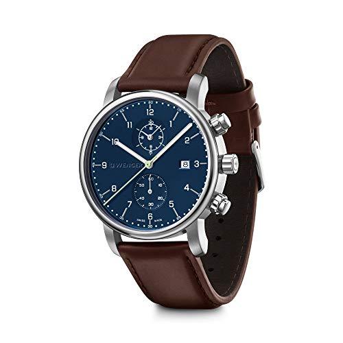 Wenger Urban Classic Chronograph- Reloj de pulsera para hombre con esfera azul y correa de cuero marrón 01.1743.125