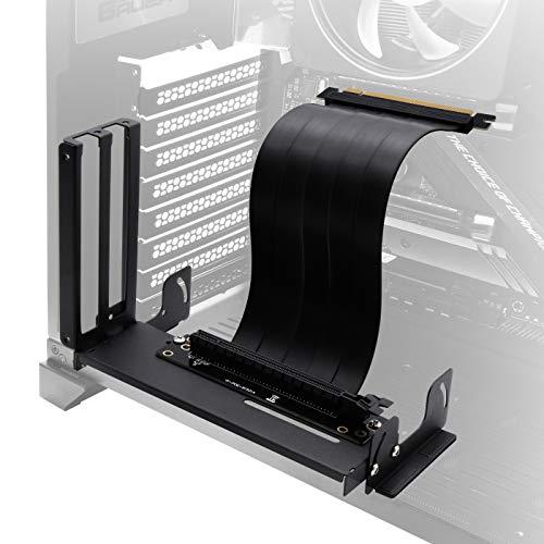 EZDIY-FAB Halterung für vertikale Grafikkartenhalterung mit Mehrwinkel, GPU-Halterung, Grafikkarten-VGA-Support-Kit mit PCIE3.0-Riser-Kabel - Schwarz