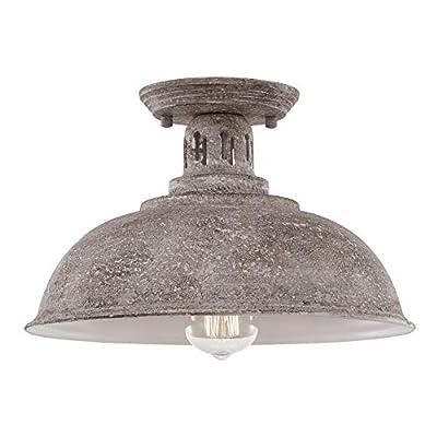 HMVPL Farmhouse Close to Ceiling Light, Vintage Semi Flush Mounted Lighting Fixture Industrial Ceiling Lamp for Kitchen Island Dining Room Foyer Hallway Porch Barn Loft
