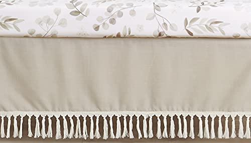 Sweet Jojo Designs Boho Fringe Boy or Girl Baby Nursery Crib Bed Skirt Dust Ruffle - Gender Neutral Beige Tan Taupe Linen Tassel Macrame for Bohemian Woodland Farmhouse Botanical Leaf Collection
