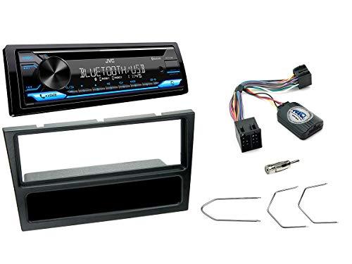 NIQ Autoradio Einbauset geeignet für Opel Agila | Corsa | Omega inkl. JVC KD-T716BT & Lenkrad Fernbedienung Adapter in Schwarz