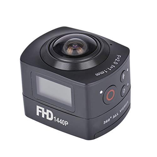 PNV Amkov AMK100S FHD Videocamera Sportiva a 360 Gradi, Nero