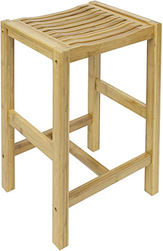 Sorbus Bamboo Stool for Kitchen Counter Height, Waterproof Wooden Stool Mudroom Foyer Entryway Shoe Bench, Bathroom Chair, Counter stools, Accent Wood Bar Stools, 21 Inch